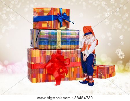 Pretty Little Gnome With Chrismas Gifts