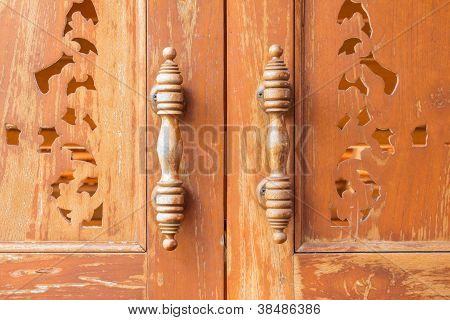 Handle Wooden Doors Close Up Thai Style