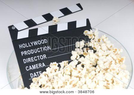 Pop Corn With Cinema Blackboard Concept