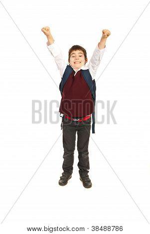 Cheering Schoolboy