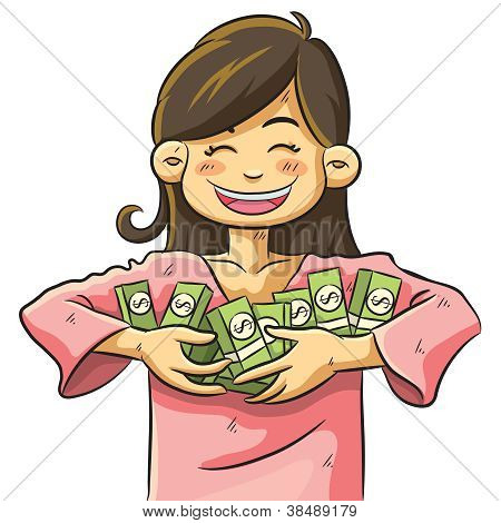 Cute Girl Holding Money