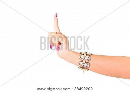 Woman Finger Point Isolated White Background