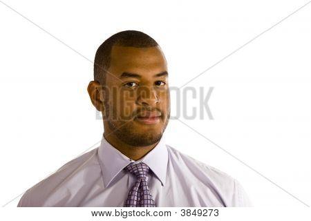 Serioius Man In Dress Shirt Looking At Camera