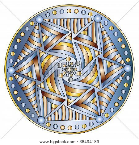 Glossy ornament with star and circles