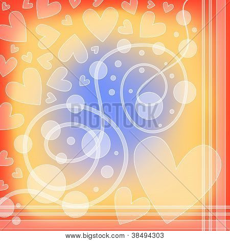 Colorful romantic background with hearts and curls