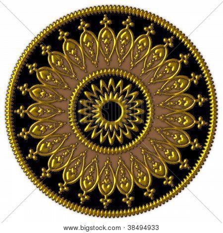 Elegant golden, black and brown ornament