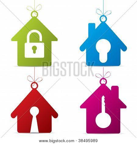 Hanging Mortgage Label Set With Symbols