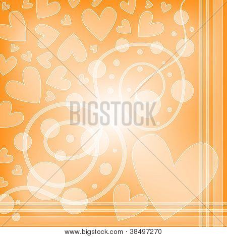 Orange background with white hearts and curls