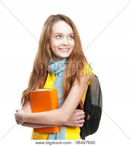 Student Girl With Book And Backpack.