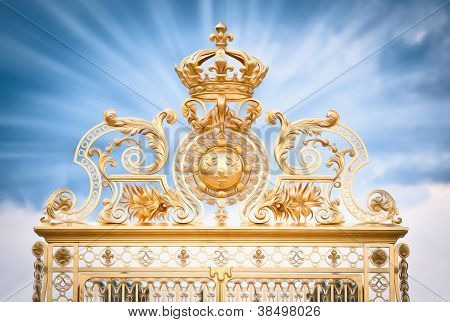 Golden Gate Of Chateau De Versailles. Paris, France, Europe.