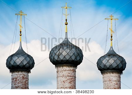 Three Domes Of Russian Church.