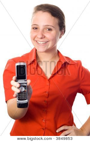 Young Woman Showing A Mobile Phone