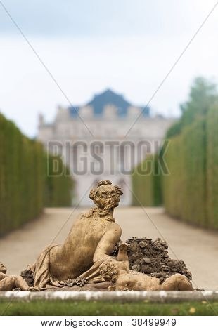 Sculpture In Garden Of Versailles.