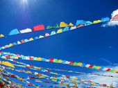 stock photo of lamas  - Lama Buddhist prayer flags in the highlands of Tibetan plateau - JPG