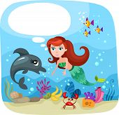 stock photo of undine  - vector illustration of a cute mermaid  - JPG