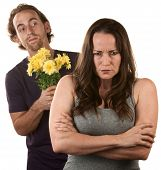 Angry Woman And Man With Flowers