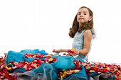 pic of toddlers tiaras  - Little Blue Dress Princess in Petals Roses - JPG