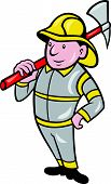 stock photo of ax  - illustration of a fireman fire fighter emergency worker with fire ax done in cartoon style standing on isolated white background - JPG