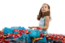 image of toddlers tiaras  - Little Blue Dress Princess in Petals Roses - JPG