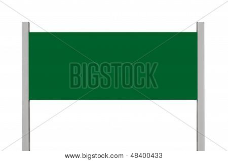 Green Metal Sign Board Signage, Isolated Blank Empty Roadside Signboard Rectangle Copy Space, Large