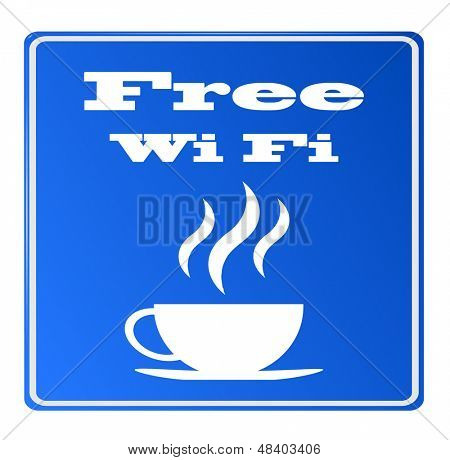 Free wifi available here with coffee sign, vector