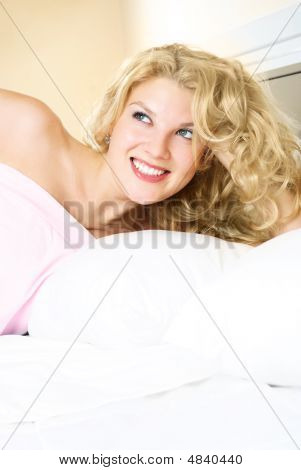 Pretty Blond Girl In Bed