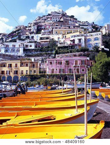Yellow boats on beach, Positano, Italy.