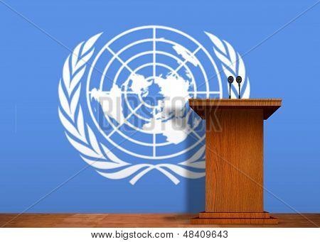 Bandera de podio y las Naciones Unidas