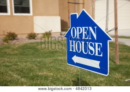 Blue Open House Sign
