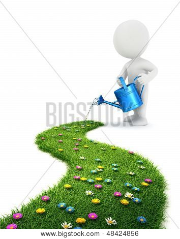 3d white people is watering a grass path