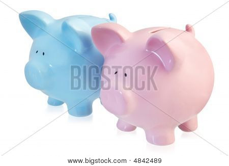 Pink And Blue Piggy Banks