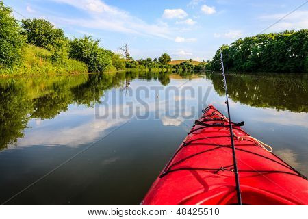 Fishing from a kayak on a small lake