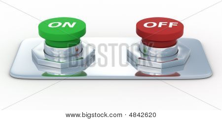 Buttons With An Inscription On And Off. Isolated 3D Image