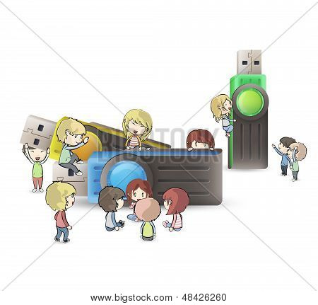 Kids Playing Around Several Pendrives. Vector Design