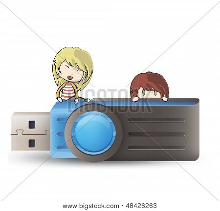 Kids Holding Blue Pendrive. Vector Design