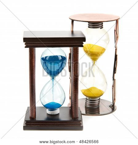 Hourglass, Sandglass, Sand Clock On White Background