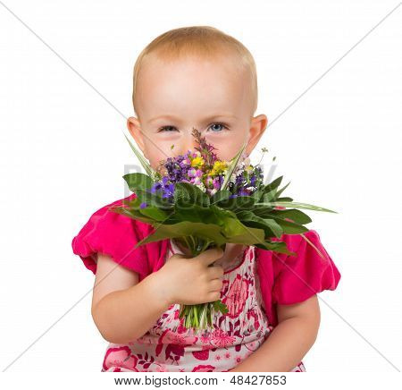 Beautiful Little Girl With A Posy Of Flowers