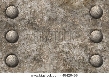 Distressed Metal Surface Texture With Two Rows Of Rivets