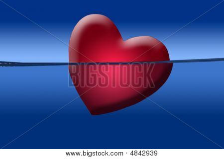 Red Heart Illustration Shape Sinking Into The Blue Water