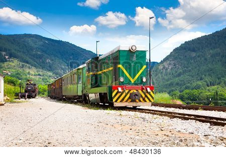 MOKRA GORA, SERBIA-JULY 14: The Shargan Eight railway on July 14,2013. It is a narrow-gauge heritage railway in Serbia, running from the village of Mokra Gora to Shargan Vitasi station. Serbia.