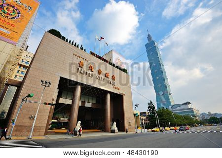 TAIPEI - TAIWAN - JANUARY 16: Taipei City Hall January 16, 2013 in Taipei, TW. The building is home to the offices of the mayor of Taipei, the vice mayor, and 15 departments under them.