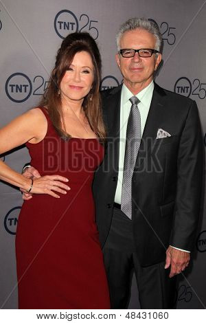 LOS ANGELES - JUL 24:  Mary McDonnell, Tony Denison arrives at TNT's 25th Anniversary Party at the Beverly Hilton Hotel on July 24, 2013 in Beverly Hills, CA