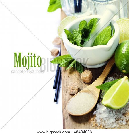 Ingredients for Caipirinha, Mojito Cocktails and other drinks  (with sample text)
