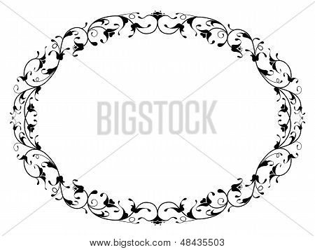 oriental floral ornamental black oval frame