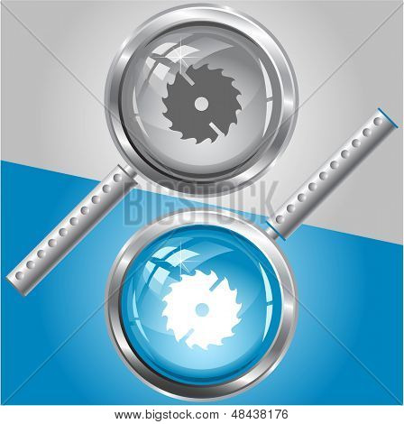 Circ saw. Vector magnifying glass.