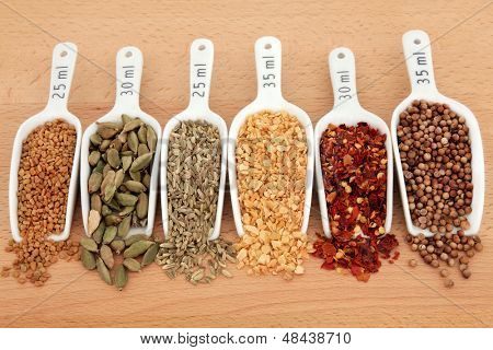 Spice selection in white china scoops with millilitre measurement over beech wood background.