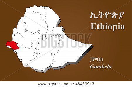 Ethiopia - Gambela Highlighted