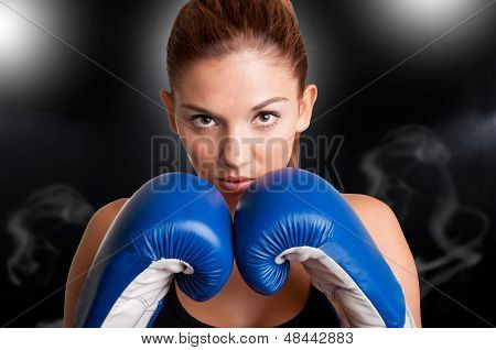 Female Boxer Ready To Fight