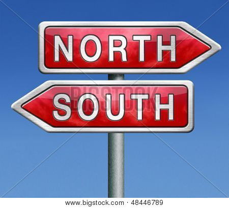 north or south warm or cold  road sign on blue background opposite direction opposites contrast choice crossroads