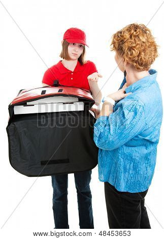 Pizza delivery girl asks for payment from a customer.  Isolated on white.